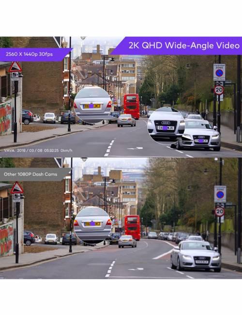 VAVA - Dash Cam 2K Wi-Fi Car DVR 2560x1440 30fps Clear QHD Video Dashboard Camera