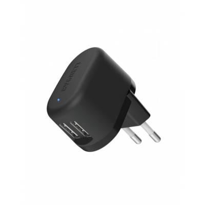 Cygnett Flow Wall Charger Dual USB 5v 2.4A Black UK
